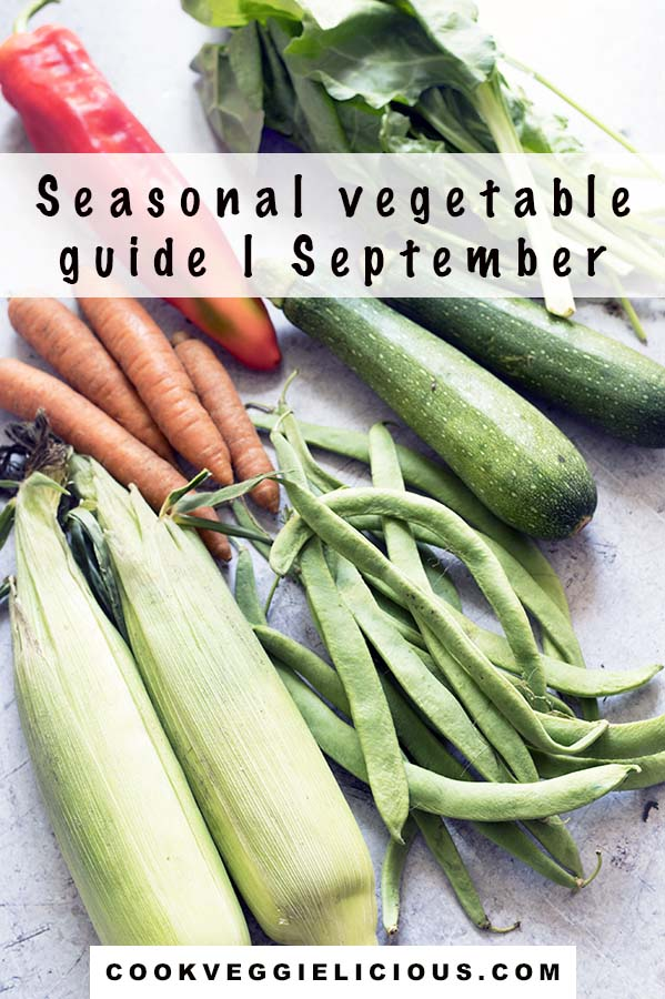 sweetcorn, carrots, red pepper, runner beans, courgette, spinach on grey background - september seasonal vegetables