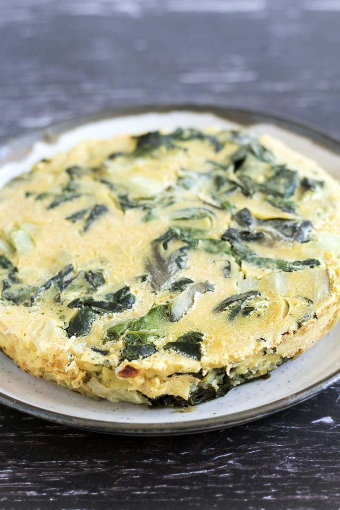 gram flour frittata with chard on plate