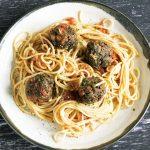 mushroom meatballs and spaghetti on ceramic plate