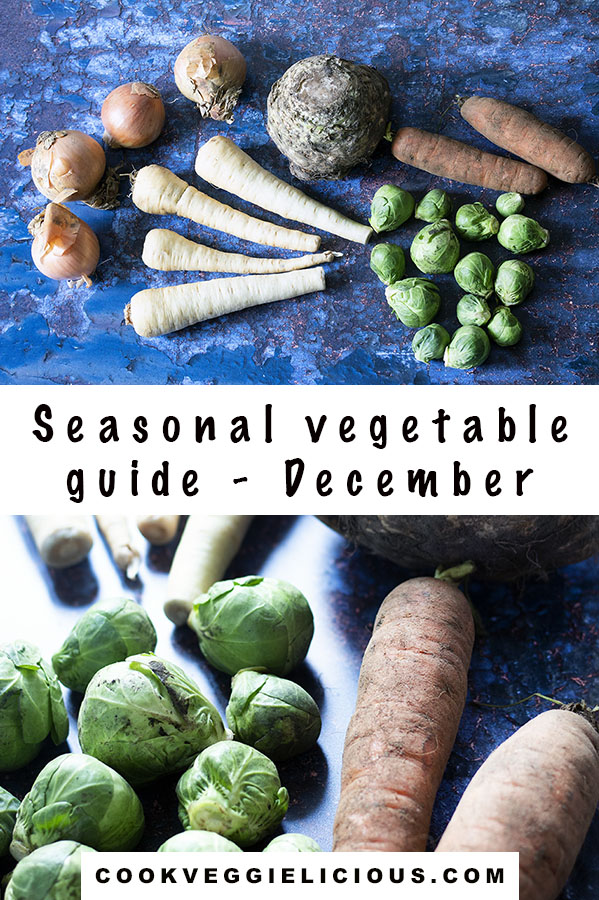 two separate views of  vegetables that are in season in December including brussels sprouts, carrots, celeriac, parsnips and onions