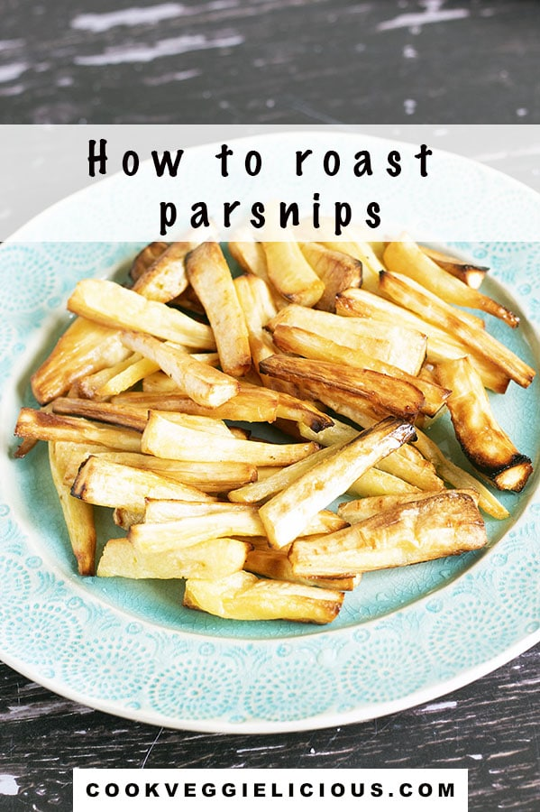 roast parsnips on green plate with text how to roast parsnips