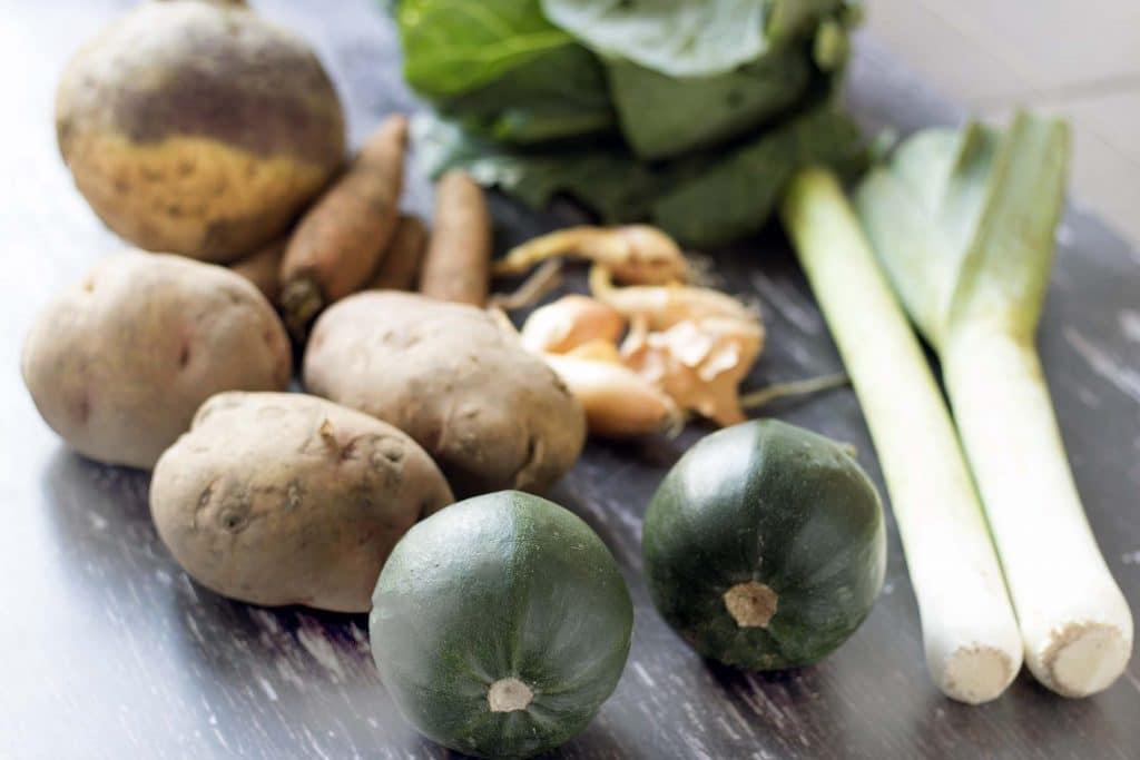 pumpkin, potatoes, carrots, shallots, leeks, cabbage, swede
