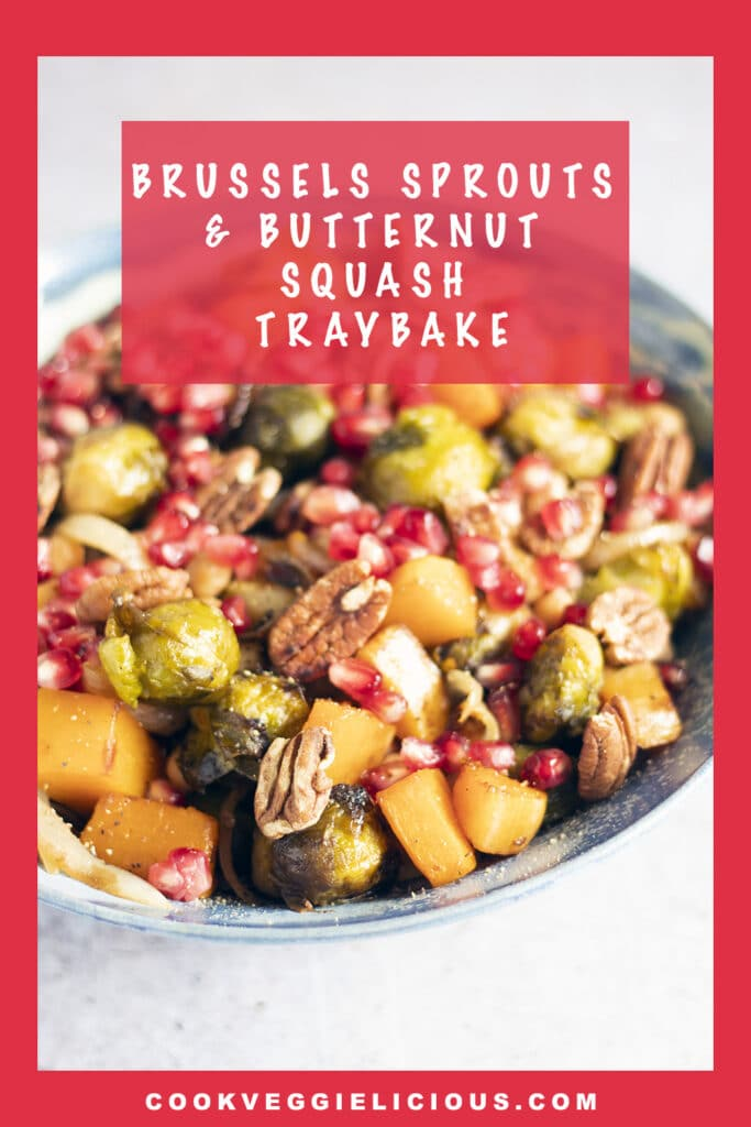 brussels sprouts and squash traybake in bowl