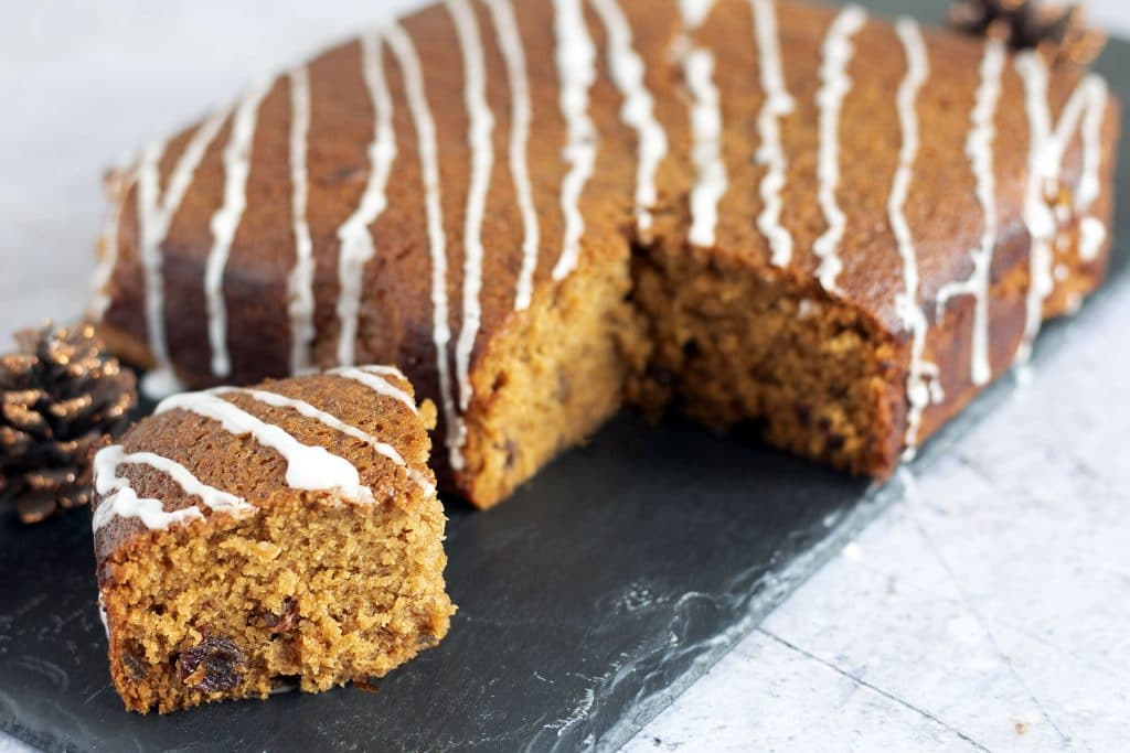 vegan ginger cake on slate plate