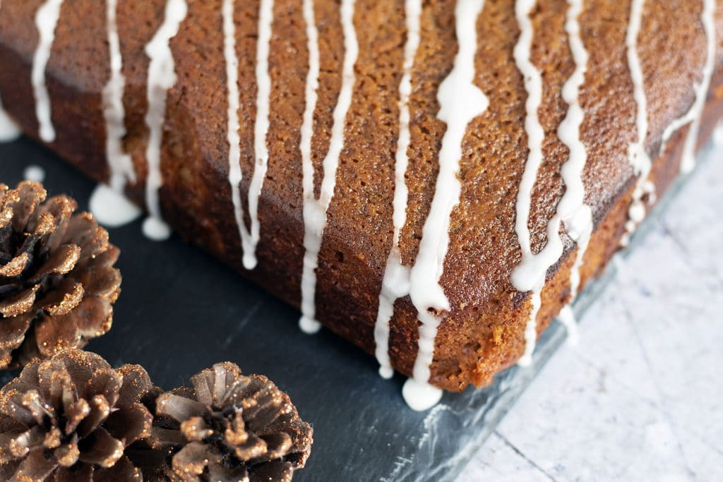 vegan ginger cake with Christmas decorations