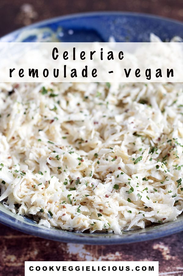 remoulade made from celery root in blue bowl