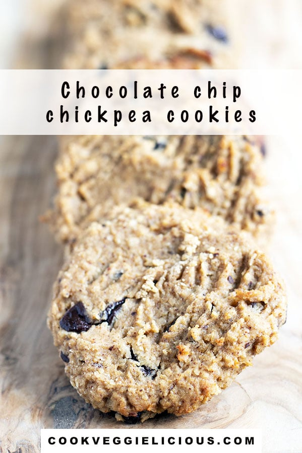 chocolate chip chickpea cookies on wooden board