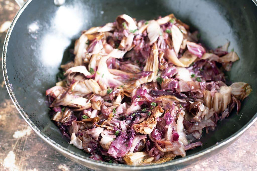 sauteed radicchio in wok