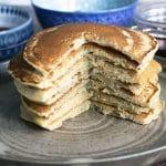 vegan pancakes on brown plate