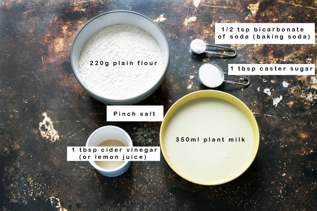 pancake ingredients with labels