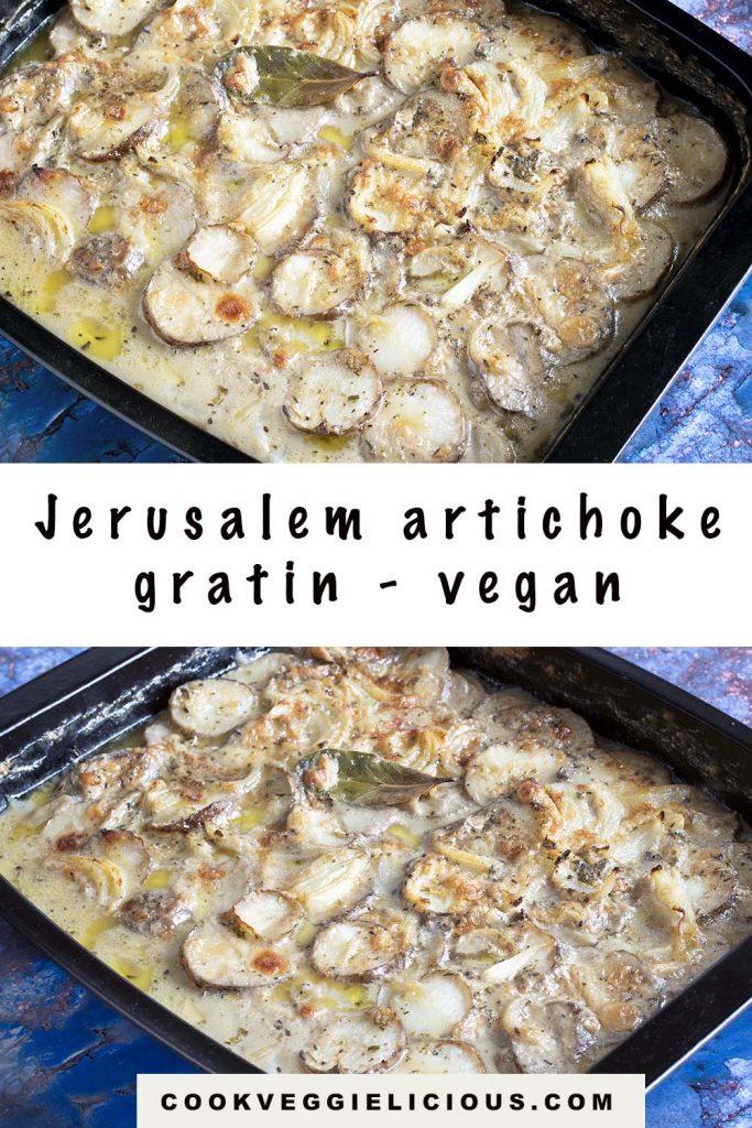 Jerusalem artichoke gratin in black roasting tin