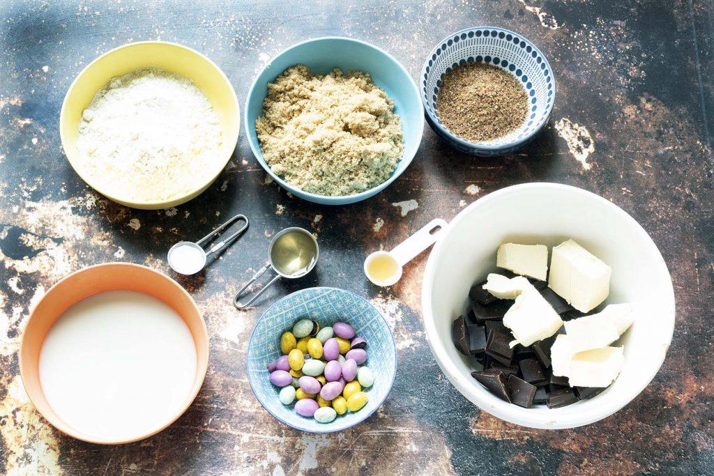 ingredients for vegan mini egg brownies