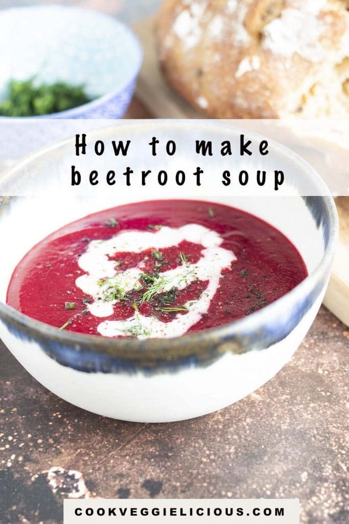 beetroot soup in blue and white bowl with bread and dill in background