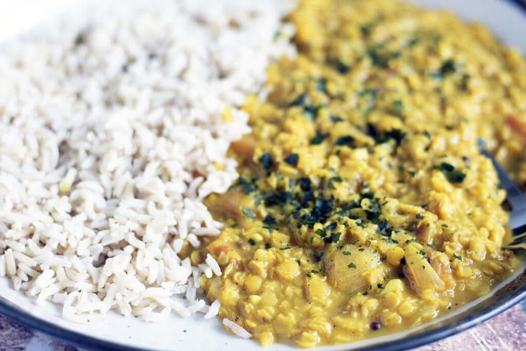 close of of coconut dal with brown rice on ceramic plate