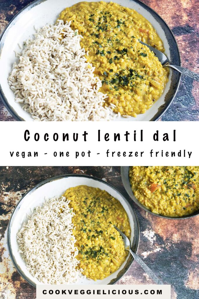 two shots of coconut lentil dal