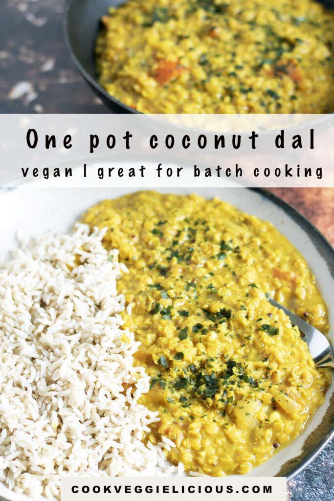 coconut lentil dal and rice