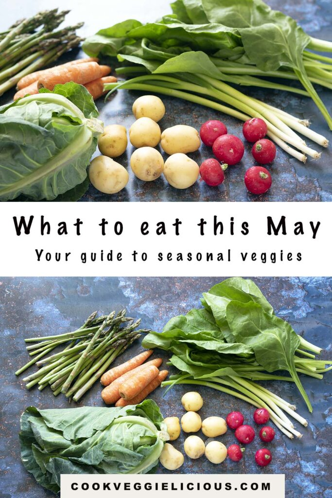 spring greens, potatoes, spring onions, radish, carrots, asparagus and spinach - vegetables in season in May