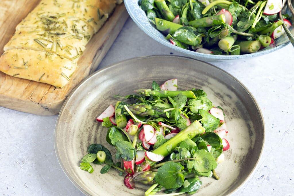 asparagus salad on plate