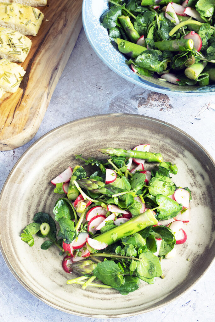 spring salad with asparagus, watercress and radish