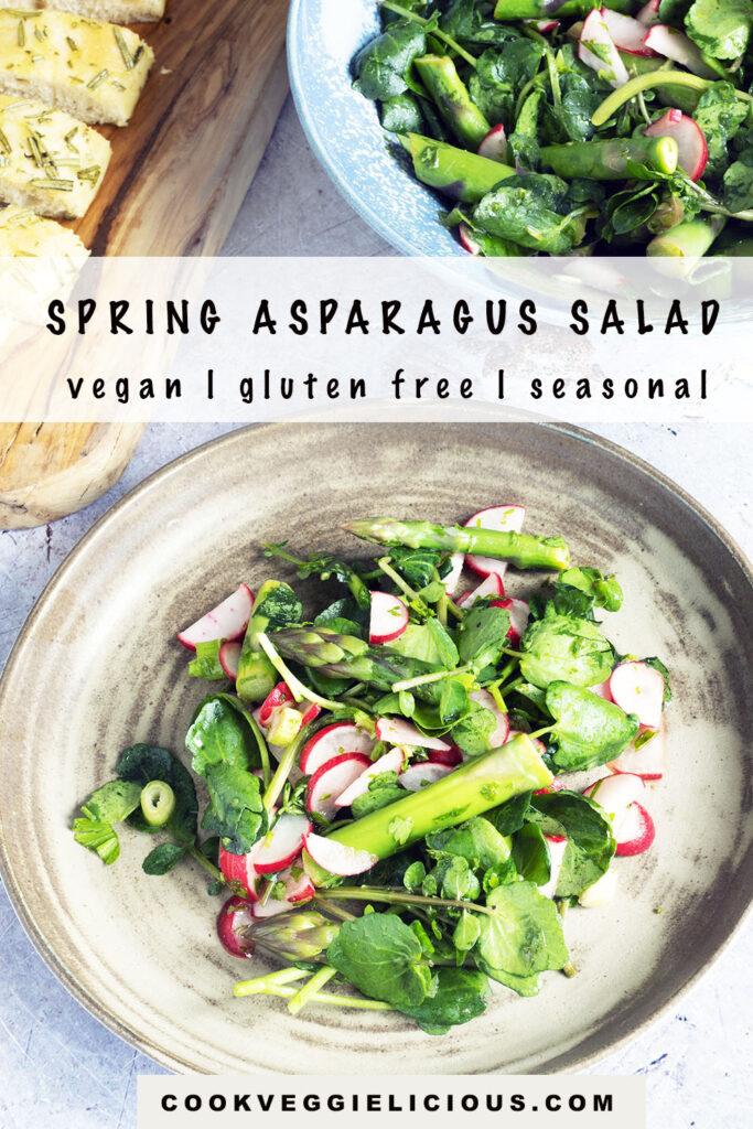 asparagus salad on ceramic plate