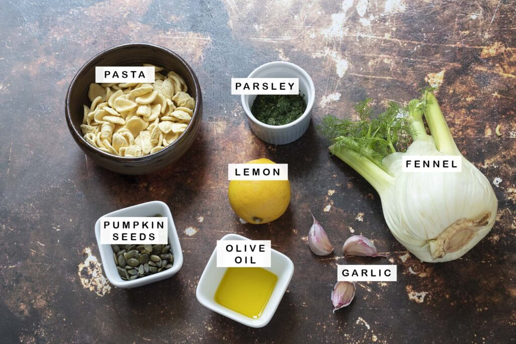 ingredients for fennel pasta on brown background