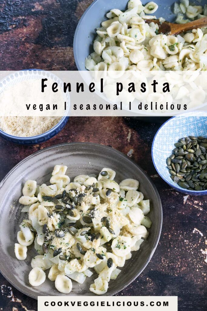 pasta with fennel on plate