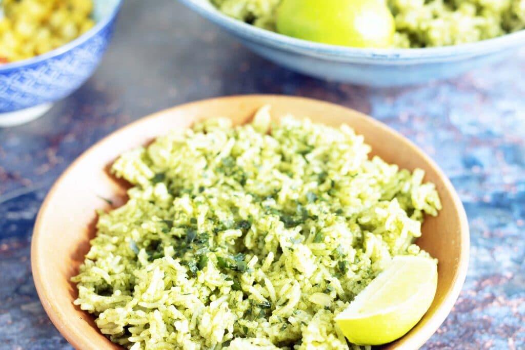 green rice in ceramic bowl