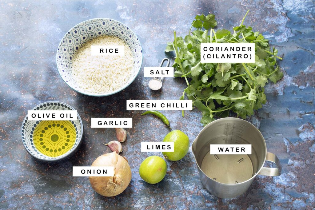 ingredients laid out for green rice with text overlay