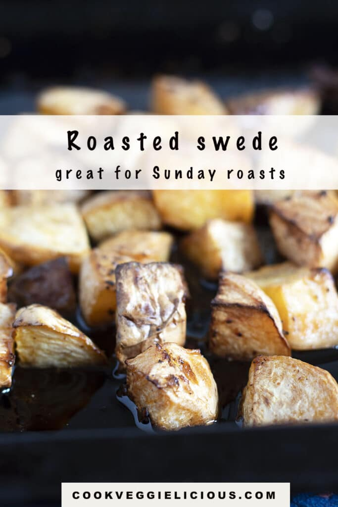 roasted swede (rutabaga) in black oven tray