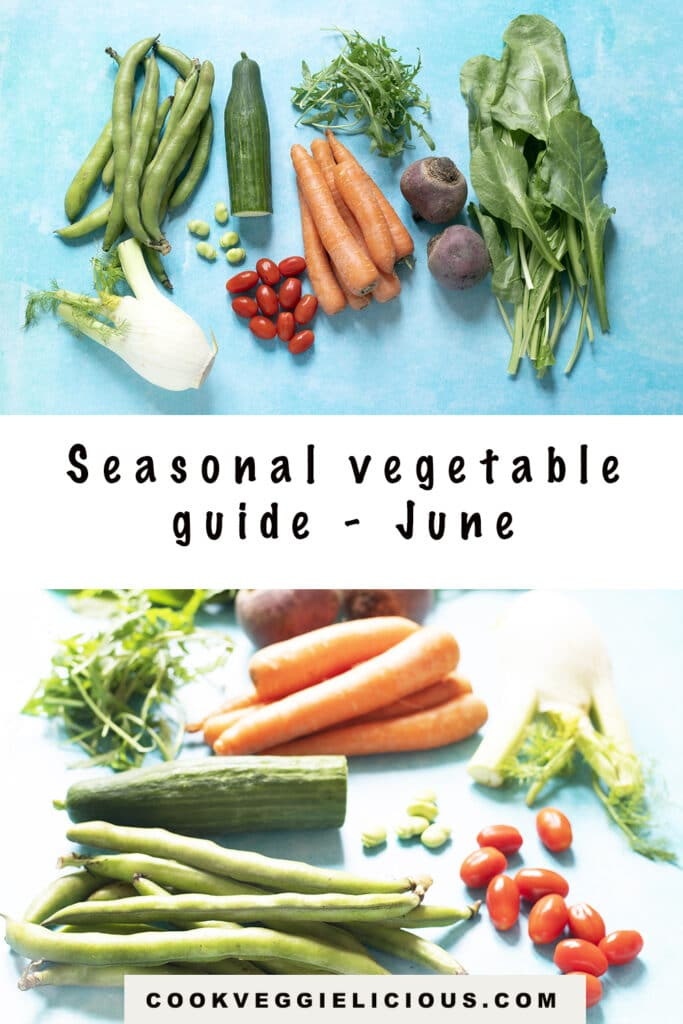 selection of vegetables that grow in June in the Uk