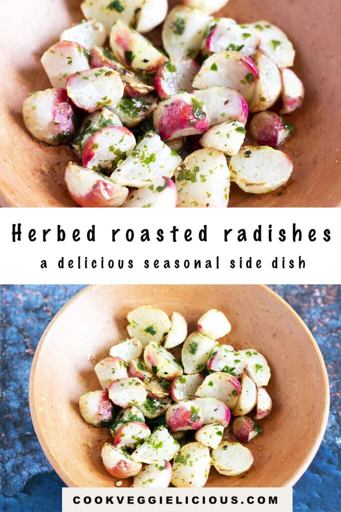roasted radishes in terracotta plate