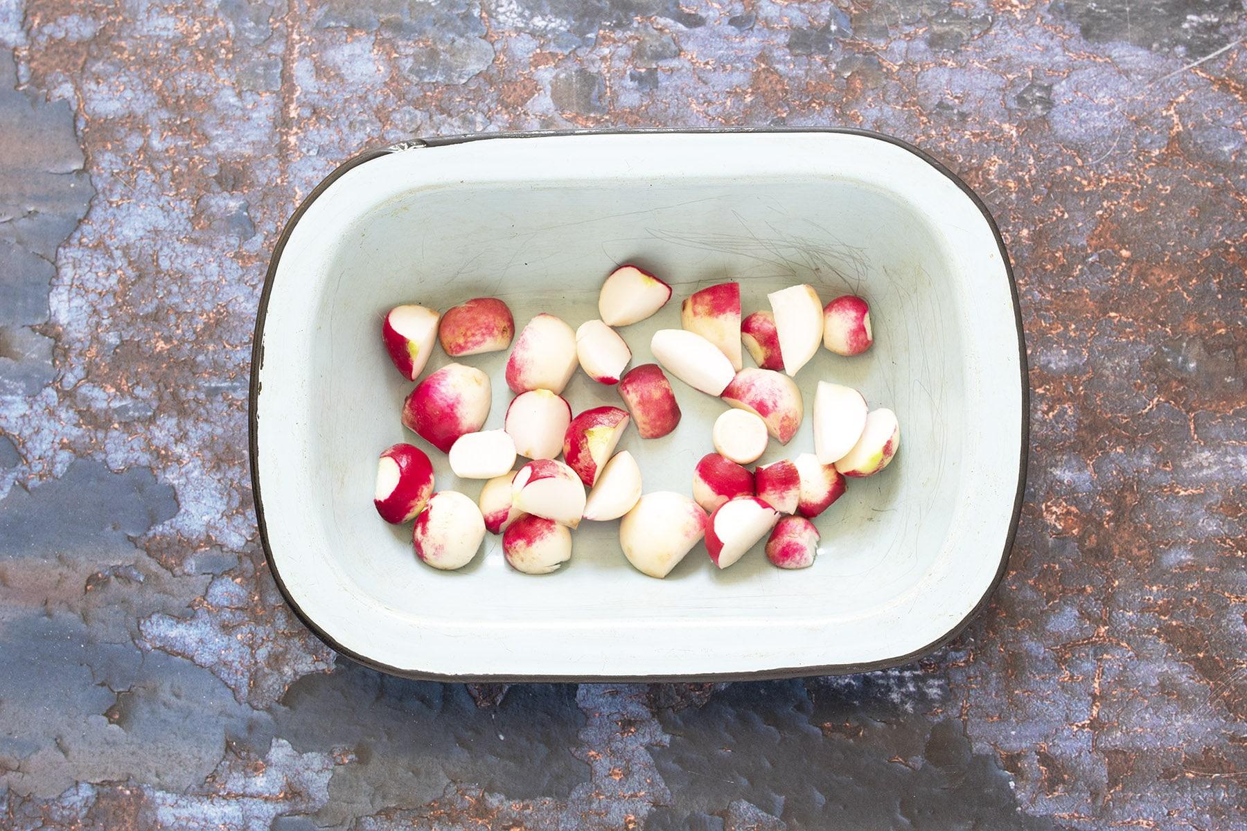 chopped radish in tin