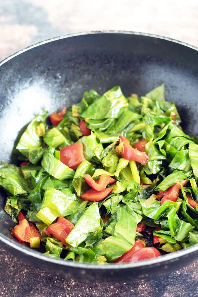 stir fry greens in wok