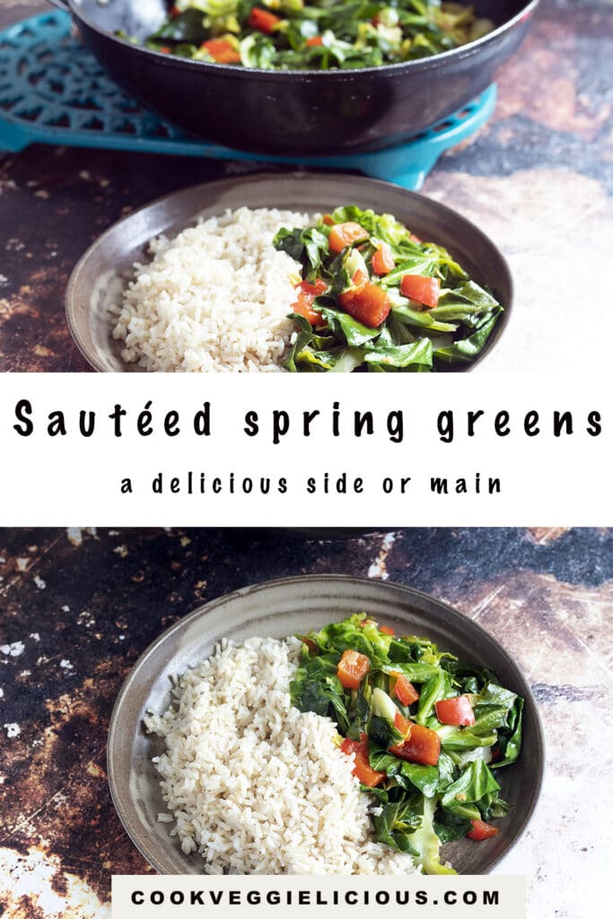 Sautéed spring greens with rice