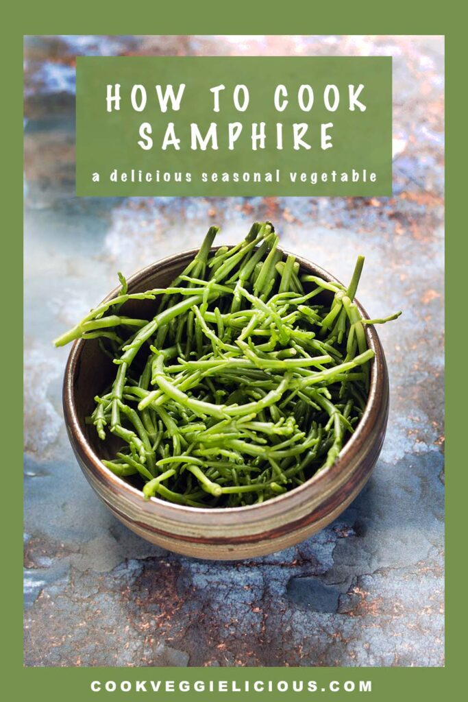 uncooked samphire on blue background
