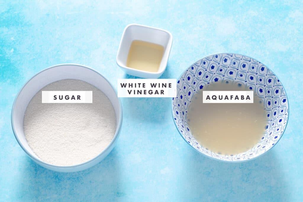 sugar, vinegar and aquafaba