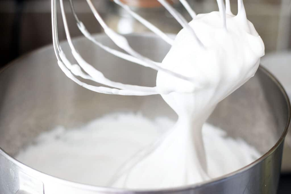 whipped aquafaba in stand mixer