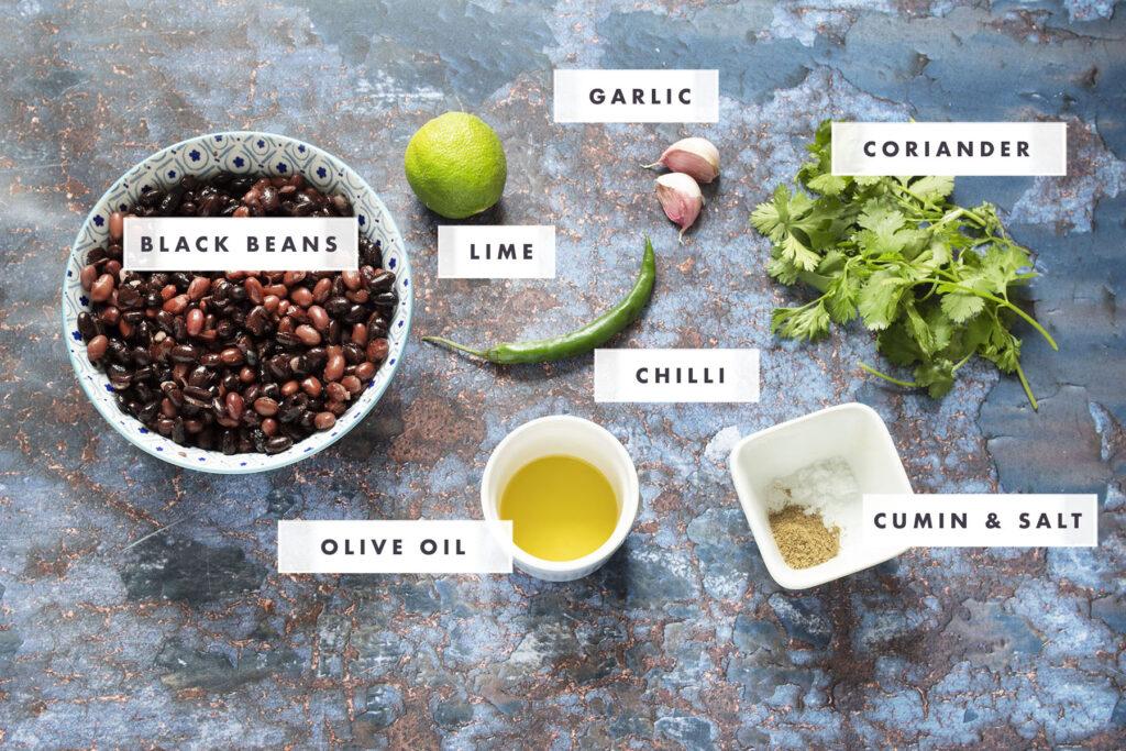 ingredients for black bean dip