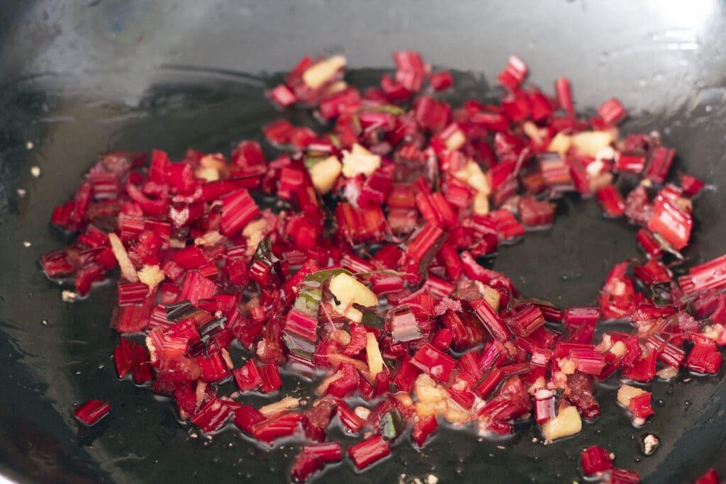 chard stems in wok