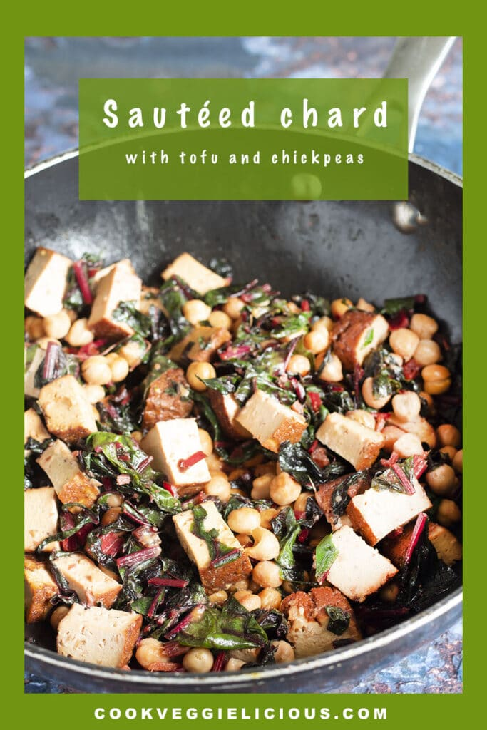 stir fried chard with tofu and chickpeas in wok