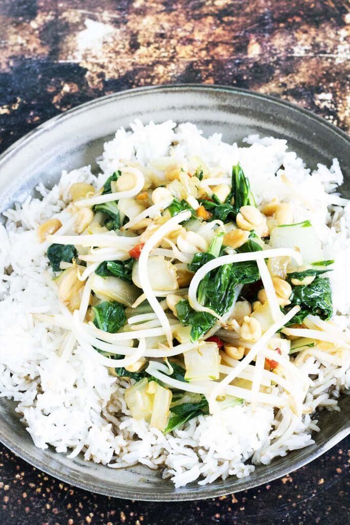 stir fried pak choi with white rice