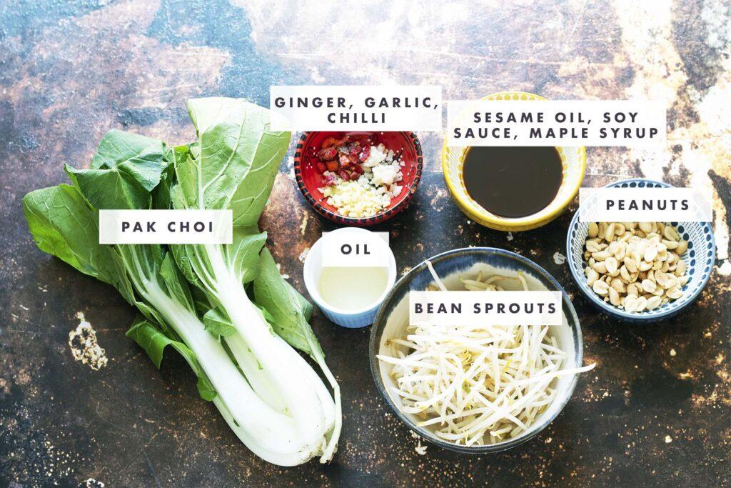 ingredients for pak choi stir fry